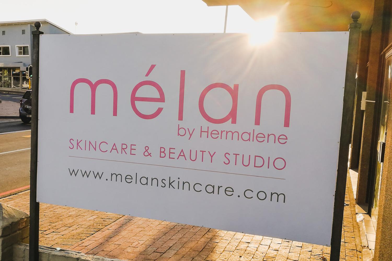 melan skincare & beauty studio signage durbanville