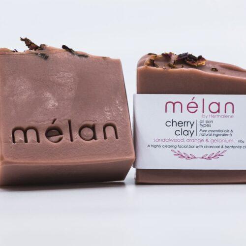 cherry clay soap melan skincare rose petals